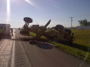 Early investigations show that a pickup truck with two men drove into the back of a road grader.