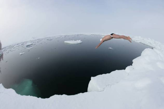 Lewis Pugh's undercarriage is no stranger to extreme cold - he was the first man ever to swim at the North Pole, enduring temperatures of -1.7 degrees (the coldest seawater can go without freezing solid)