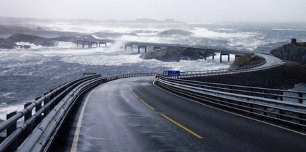 The Atlantic Ocean road in Norway, otherwise known as the most extreme road on earth.