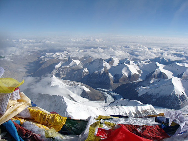 The view from the top of Mount Everest.