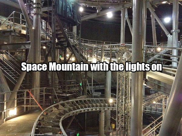 What Space Mountain looks like when all the lights are on.