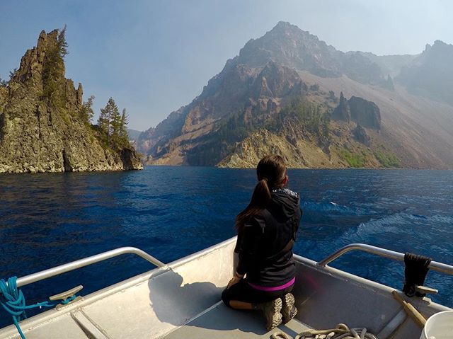 Mind blown during the Crater Lake boat ride. 💙 Here we are approaching Phantom Ship, (on the left) the oldest rock in the lake after Mount Mazama erupted and collapsed hundreds of thousands of years ago. @nationalparkservice #craterlake #nps #findyourpark #gopro #lovegoparks @goparks @columbia1938